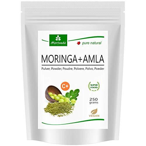 MoriVeda® - Moringa + Amla en polvo - Moringa Oleifera polvo de hoja premium y polvo de fruta Amla (Amalaki), vegano, microfino molido (1x250g)