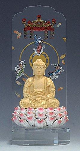 新世紀仏像 彩り 木製蓮台(ピンク) 座釈迦 大2.5寸 楠金泥書 クリア YKM_B_002_02