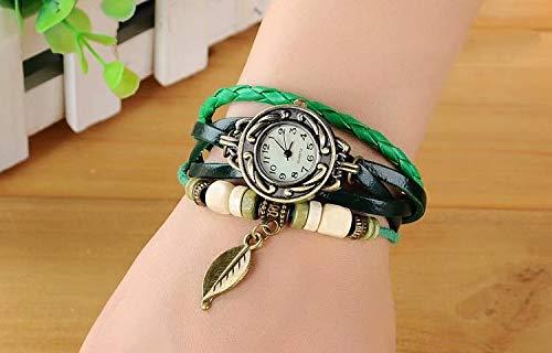 SANDIN Reloj de Pulsera de Cuero Hecho a Mano Vintage Hoja de árbol Dama de Mujer Abrigo Alrededor Reloj de Pulsera de Cuarzo Hoja de Pulsera Green