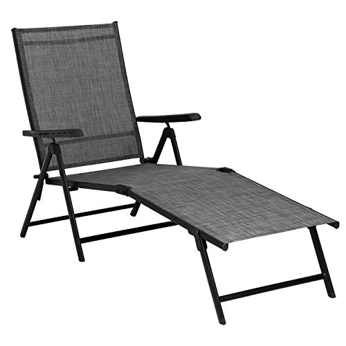 Patio Lounge Chair Patio Chaise Lounges Chairs for Outside Folding Lounge Chair for Patio Pool Beach Yard with Adjustable Reclining Lounge Chairs Gery