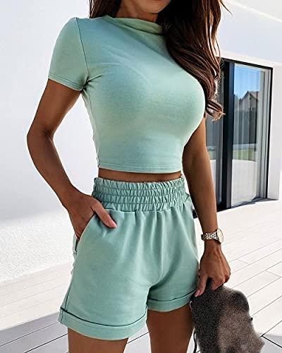 BUXIANGGAN Shorts Pantalones Cortos Mujer Conjunto De Dos Piezas De Manga Corta para Mujer, Pantalones Cortos Lisos-Green_L