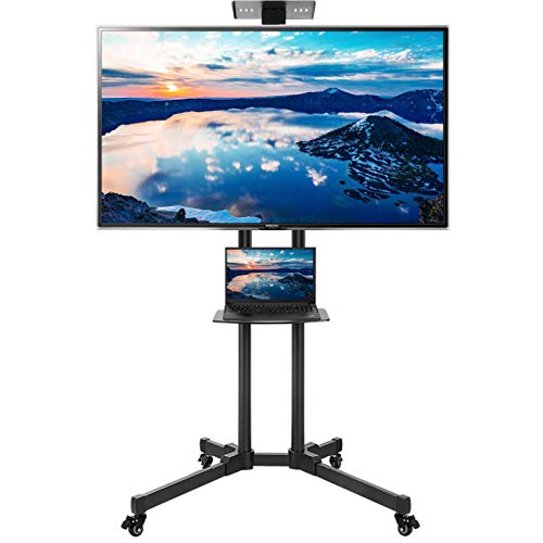 WHESWELL Moible TV Cart Rolling TV Stand with Wheels for 32-70 inch LCD LED 4K Plasma Flat Panel Screen TVs,TV Floor Stand with Shelf Holds Up to 110lbs,Height Adjustable Trolley Max VESA 600x400mm