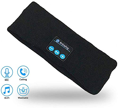Bluetooth Music Headband Sweatband Headwear Strap with Built in Bluetooth Wireless Speaker and Headset for Gym Exercise Running Sleeping