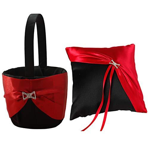 KateMelon Wedding Accessories Black and Red Ring Bearer Pillow & Wedding Flower Girl Basket Set