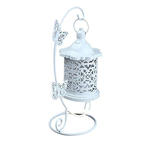 Linterna de Vela Titular de la palmatoria hueco Portacandelitas Linterna colgante jaula de pájaros forjado pendiente gancho for la tabla de la boda de la lámpara de la palmatoria comedor Decoración
