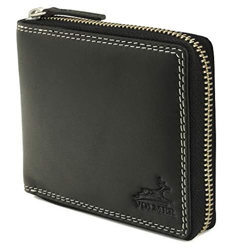 Fa.Volmer ® Leder Geldbörse schwarz aus echtem Rindsleder - Mit robustem externem Reißverschluss sowie RFID-Schutz - TÜV-Zertifikat - # BlZip07