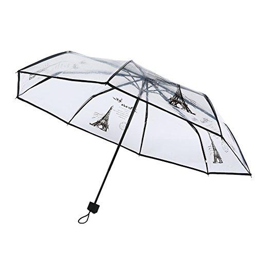 Shiningup Transparenter Regenschirm 3-facher Schwarzer Paris Eiffelturm Transparente Regenschirme