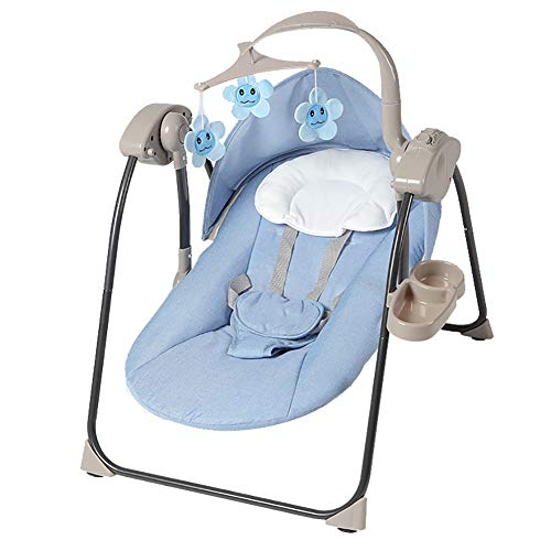 LYXCM Baby Swing for Infants, Soothing Portable Baby Rocking Chair with Remote | Comfort Ergonomic Newborn Cradling Bouncer with Bluetooth Music,Blue