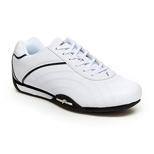 Goodyear Herren Sneaker Ori Racer Sneaker, niedriges Oberteil, PU-Leder und Netzfutter, Schwarz (weiß/schwarz), 47 EU