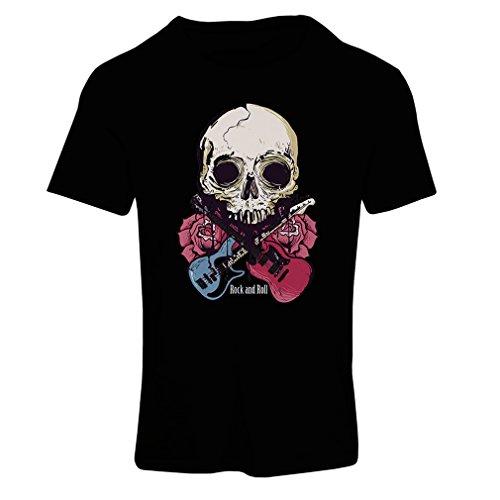 lepni.me Camiseta Mujer Guitarras, Calavera, Rosas - Amantes del Concierto de Rock & Roll (Medium Negro Multicolor)