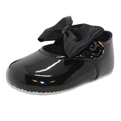 Zapatos para cochecito de bebé, suela suave con botones de lazo, fabricado en Gran Bretaña, color Negro, talla 33 EU