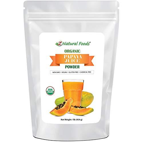 Organic Papaya Juice Powder - Tropical Fruit Superfood Drink Mix Supplement - Mix In Smoothies, Shakes, Tea, Cooking & Baking Recipes - Non GMO, Gluten Free, Vegan, Kosher - 1 lb