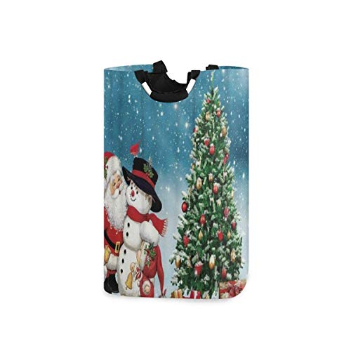 BEITUOLA Laundry Basket,Christmas Snowman Santa Claus Winter Xmas Tree Gift,Portable Washing Basket,Laundry Hamper with Handle,Storage Bag,Laundry Bin,Large Capacity,Collapsible