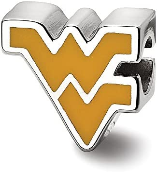 Solid 925 Sterling Silver Official West Virginia University WV Enameled Logo Bead Small Charm product image