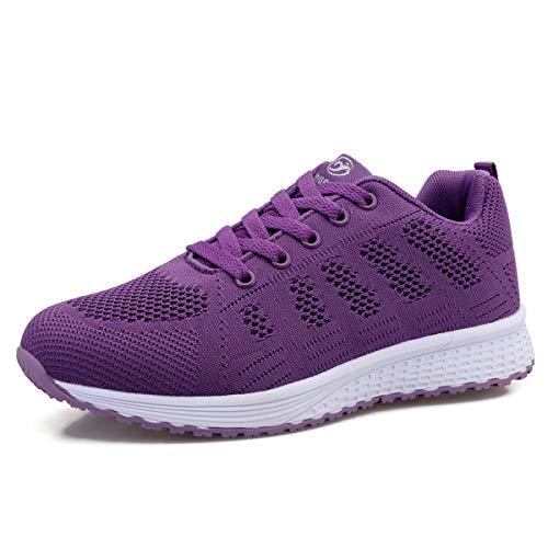Lanivic Damen Turnschuhe Laufschuhe Atmungsaktive Sportschuhe Tennisschuhe Athletisch Fitnessschuhe Sneakers Flach Violett EU 38