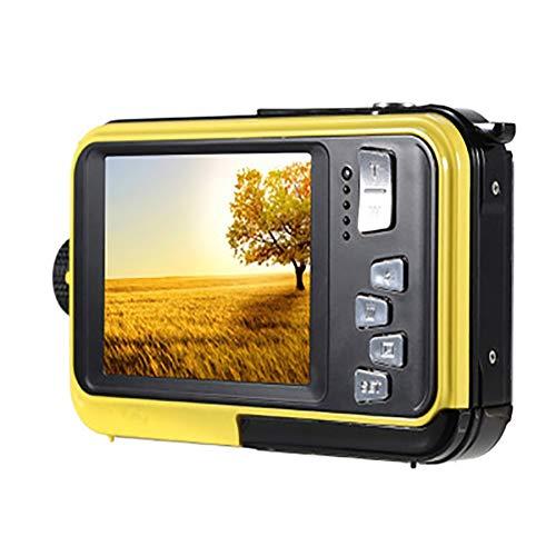 SHARESUN Cámara Digital a Prueba de Agua, 24 Millones de píxeles Cámara 1080p HD Cámara de Litio Pantalla Doble Pantalla Dual 2.7 Pulgadas, cámara para niños,Yellow