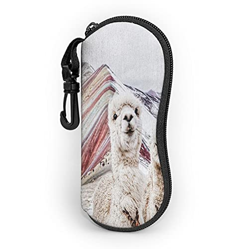 Alpaca - Gafas de sol con clip para cinturón, funda portátil con cremallera, bolsa de gafas de neopreno, ultra ligera, portátil, con cremallera