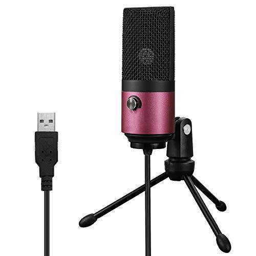 NTMD Lautsprecher Gesang Mikrofon verkabelt Mikrofon kareoke microhone USB-Desktop-Kondensator-Mikrofon for YouTube Videos Live-Übertragung Online Meeting Anzug for Windows (Color : Rose red)