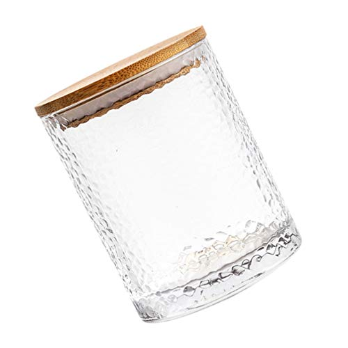New Cabilock Glass Jar with Airtight Seal Wood Lid Clear Candy Jar Food Storage Canister for Serving...