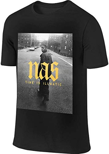 Bfgfgzsdfsg Leisure Men's T-Shirt NAS Rapper Time is Illmatic Round Neck Short Sleeve T-Shirt XL