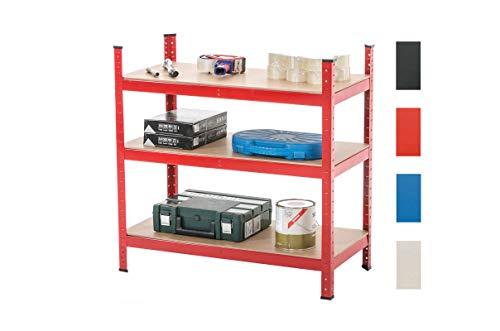 CLP Lagerregal 90x45x90 cm verzinkt I Tragkraft 175 kg pro Boden I 3 Böden I Schwerlastregal, Farbe:rot