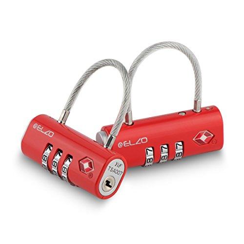 Elzo TSA Zugelassene Gepäckschlösser 2er Set, Reiseschlösser Zahlenschloss Kofferschloss Kabelschloss mit 3-stelligen Zahlencode für Koffer, Gepäck und Sporttasche (Rot)