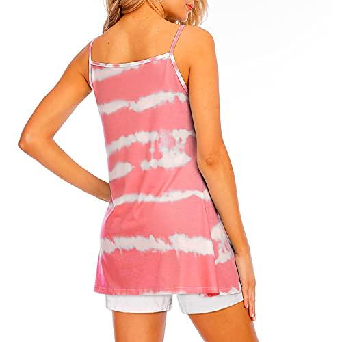 Damen Tank Tops Sexy ärmellos Cami Bluse Elegant Sommer T-Shirts Casual Oberteil Top Tie Dye Drucken Shirt Basic Tee Oberteile V-Ausschnitt Sport Tshirt Lose Camisols