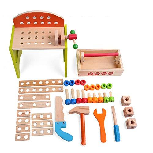 MELLRO Kinderspielblöcke Gebäude mehrfarbige Holzwerkzeuge und tragbare Multi-Tool-Tabelle Kinder DIY Carpenter Toy Für Kleinkinder Kinder Mädchen & Jungen