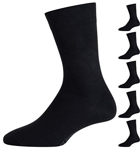 ELBEO Herren Business-Socken Freizeitsocken 905597 6 Paar, Farbe:Schwarz, Menge:6 Paar (2x 3er Pack), Größe:43-46, Artikel:-5300 schwarz