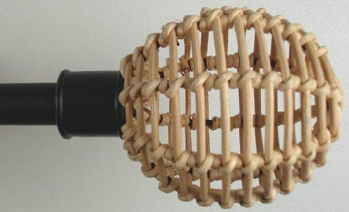 DecoProfi 2 x Endstück Rattankugel, für Gardinenstangen 16 mm Durchmesser, schwarz/Natur