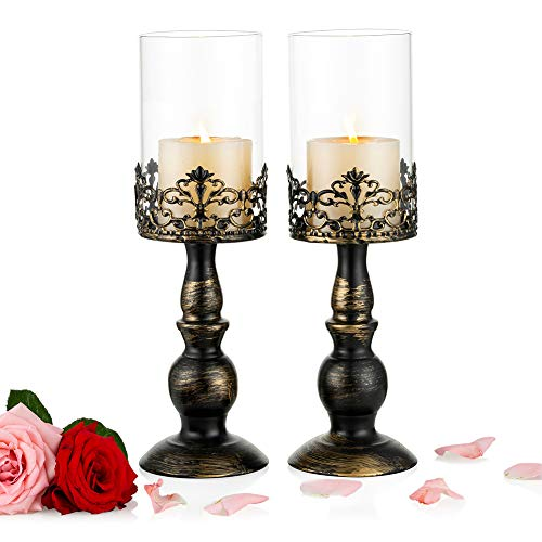 Nuptio 2 Pcs Vintage Candle Holders for Tables, Black Pillar Candle Holder with Glass Cover, Antique Hurricane Candlestick Display for Home Wedding Christmas Party Candlelight Dinner Decoration