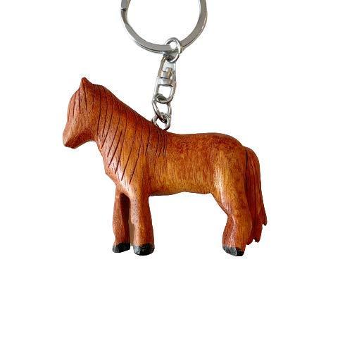 JA Horse - Holz Schlüsselanhänger Pferd Pferdchen Pony Reiten Tier handgemacht (3D braunes Pferd)