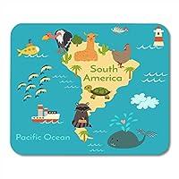 ゲームマウスパッド動物世界地図ソースアメリカ就学前の赤ちゃん大陸海描かれた装飾オフィスノンスリップラバーバッキングマウスパッドマウスマット