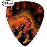 Sherly Yard - Selecciones de guitarra de muestra de lobo del fénix rojo - Paquete de 12 incluye medidores delgados, medianos y pesados