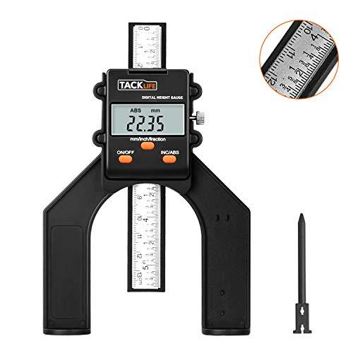 Tiefenmesser,Tacklife 0~80mm Digitaler Profiltiefenmesser,Höhenmesser Oberfräse,Tiefenlehre mit Magnetischen Füßen für Holzbearbeitung und Maschinenbau
