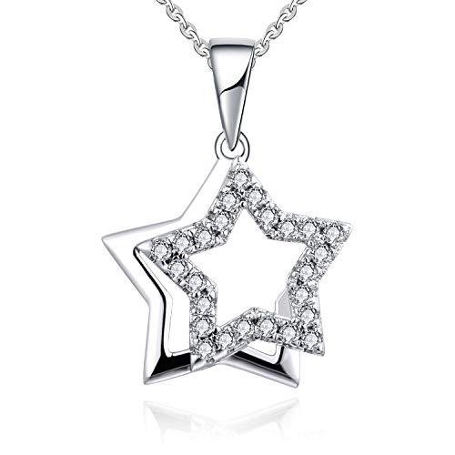 YL Collar Colgante Estrella de plata para mujer, Collar esterlina de plata 925 con collar de circonita cúbica