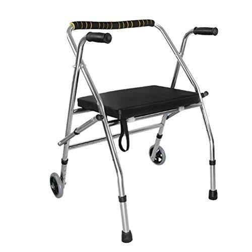 RONGW JKUNYU - Marco plegable de acero inoxidable para ancianos con discapacidad, color negro