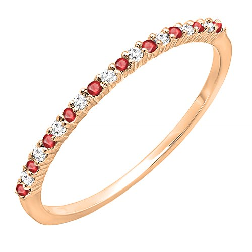 Dazzlingrock Collection 10K Round Ruby & White Diamond Ladies Anniversary Wedding Stackable Ring, Rose Gold, Size 7