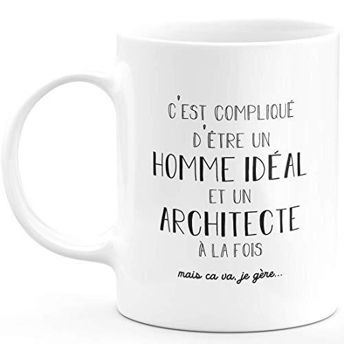 Taza para hombre ideal arquitecto – Regalo arquitecto de cumpleaños, San Valentín para hombre, amor, pareja – Cerámica – Blanco