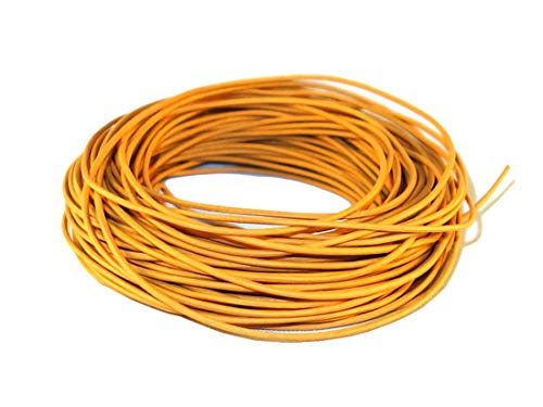 Cords Craft - Cuerda de piel redonda de 1,5 mm, acabado mate, para bisutería, collar y collares, 10 metros, tinte natural Amarillo