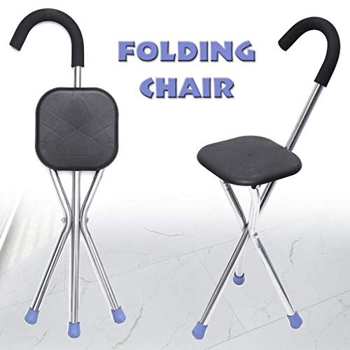 GEER Stativ Spazierstock und Sitzklapp Leichte Cane Sitz Eisen Wanderstöcke Tragbarer Stuhl Tripod Travel Chair Hocker für ältere Menschen, Angeln im Freien