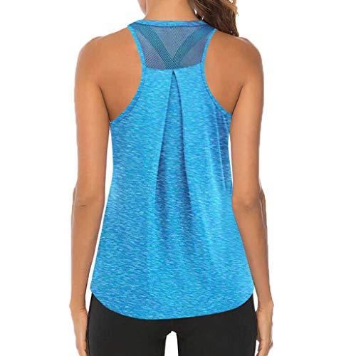 BUKINIE Workout-Tops für Damen, Activewear, athletisches Yoga, Tank-Top, Ärmeln, Netzstoff, Rückenfrei, Muskel-Tank-Laufshirts Gr. Small, blau