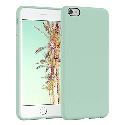 EAZY CASE Premium Silikon Handyhülle kompatibel mit iPhone 6 / 6S, Slimcover mit Kameraschutz & Innenfutter, Silikonhülle, Schutzhülle, Bumper, Handy Hülle, Hülle, Softcase, Mint Grün