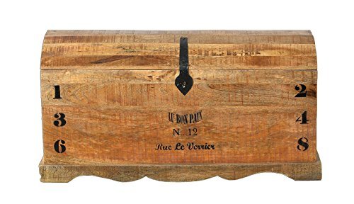 SIT-Möbel Rustic 1991-04 Truhe mit 1 Klappe, aus Mangoholz, Antik, braun, Wortprints, 100 x 43 x 50 cm
