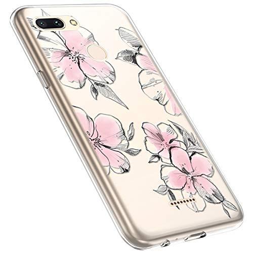 MoreChioce kompatibel mit Xiaomi Redmi 6 Hülle,Redmi 6 Handyhülle Blume,Ultra Dünn Transparent Silikon Schutzhülle Clear Crystal Rückschale Tasche Defender Bumper,Blumenzweig #28