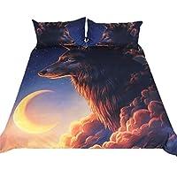 ファイヤーアイスオオカミとナイトウルフ3Dプリンティングアート寝具セット3個ブルーイエロー寝具キングサイズインドオオカミキルトカバー枕カバー付きスローベッドセットホームテキスタイル、B、キング