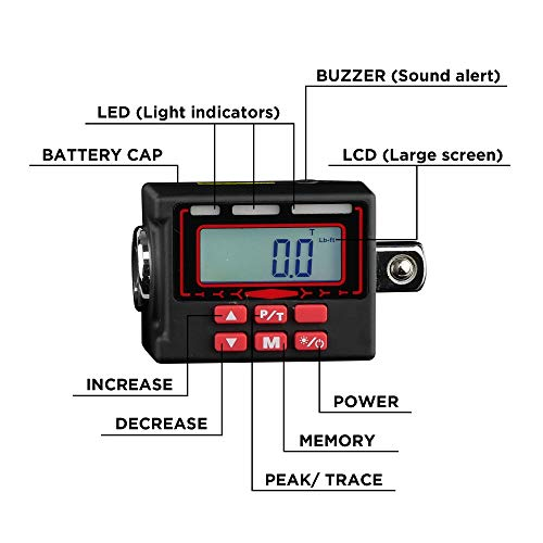 KAIFNT K553 Digital Torque Adapter, 1/2-Inch 12 to 250 ft·lbs, Buzzer/LED Flash Notification, Dual Direction