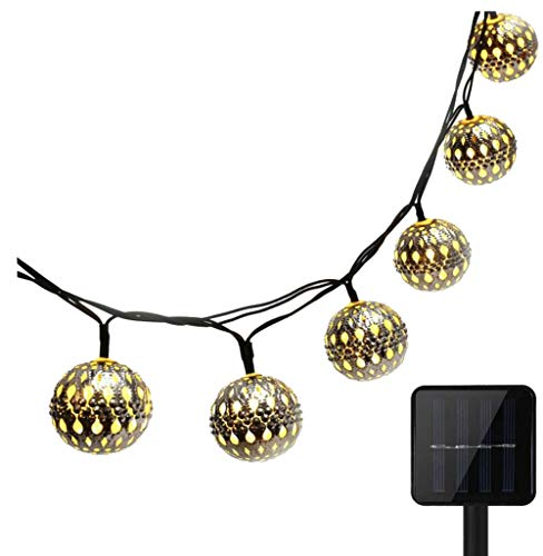 10LED Solar Powered Global Moroccan Iron Ball String Lights Lanterns, KEEDA Waterproof Garden Lights, Outdoor Festival Ambiance Lighting (Warm White)