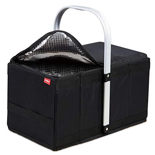 achilles Handle-Box Cool Einkaufs-Korb mit Kühl-Einsatz Picknick-Korb mit Aluminium Griff Kühl-Tasche herausnehmbar Klapp-Box Trage-Korb Falt-Tasche Schwarz 40 cm x 24 cm x 20 cm