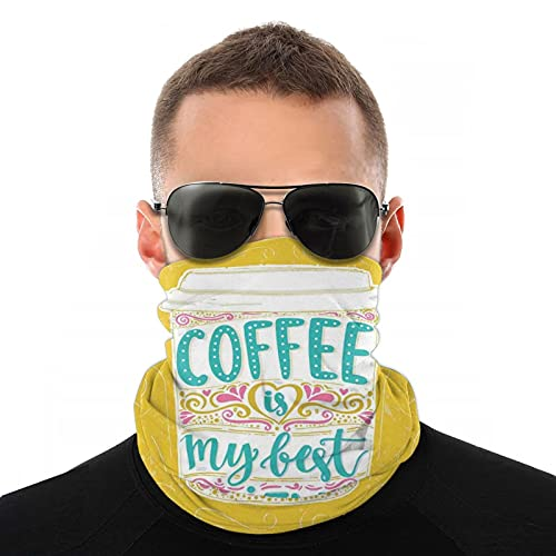 Bufanda de cabeza variada, Coffee Is My Best Friend divertido mensaje con taza de café dibujada a mano, bufanda multifuncional para hombre y mujer